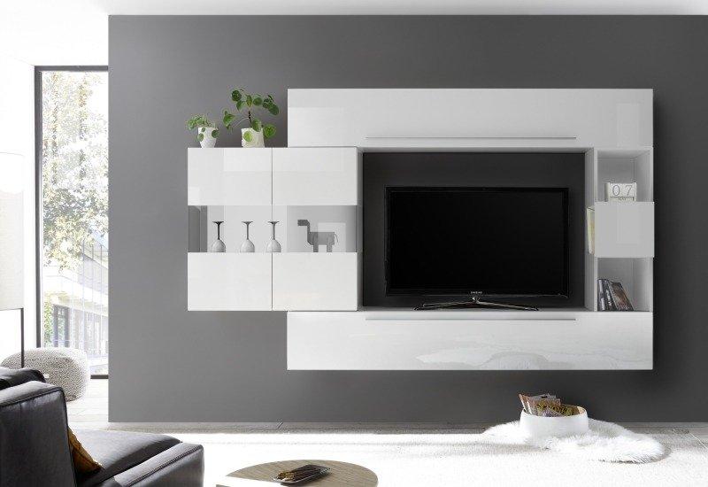 Witryna Wisząca Line Biała Biały Pomieszczenia Salon Witryny